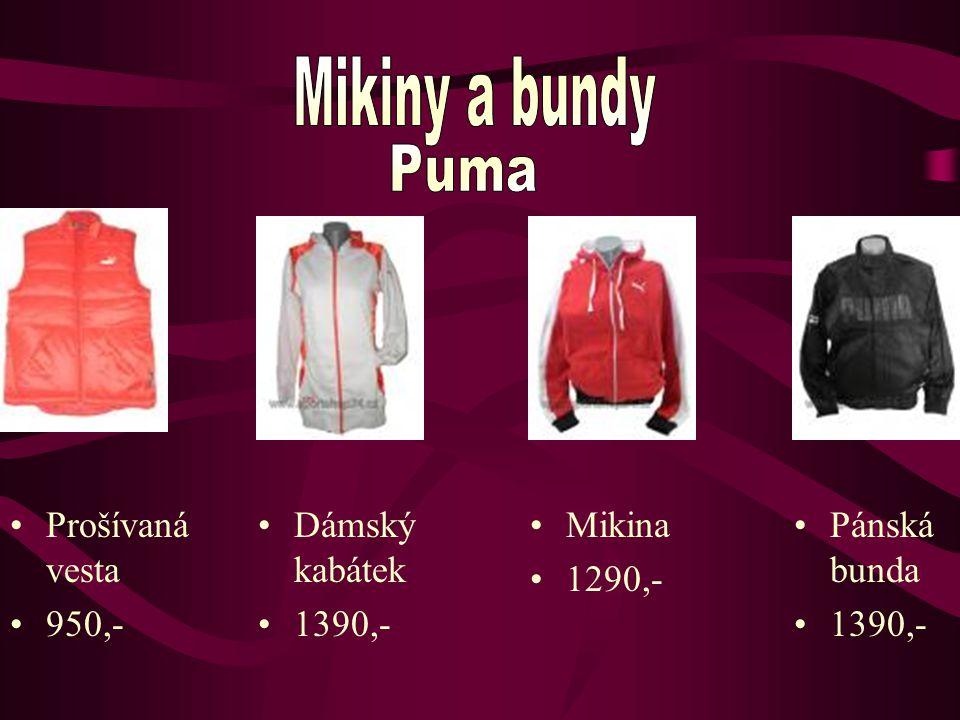 Dámský kabátek 1390,- Pánská bunda 1390,- Mikina 1290,- Prošívaná vesta 950,-