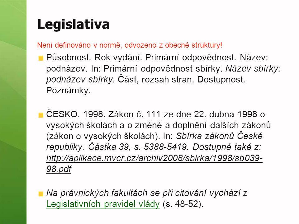 Legislativa Není definováno v normě, odvozeno z obecné struktury! Působnost. Rok vydání. Primární odpovědnost. Název: podnázev. In: Primární odpovědno