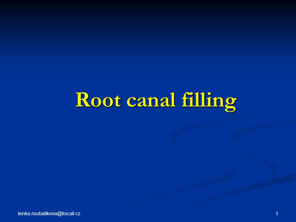 lenka.roubalikova@tiscali.cz 32 Root canal filling Root canal filling Guttapercha Cones: conventional and standardized sizes Conventional: dimension of the tip and body Standardized cones are designed to match the taper of the instrument.