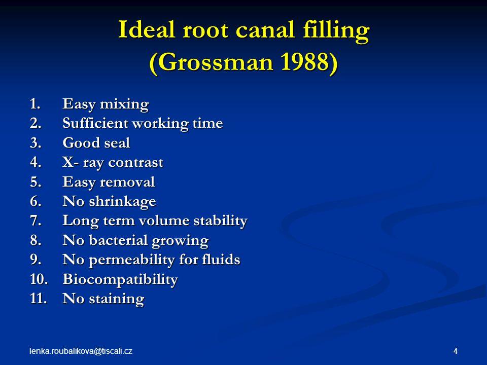 lenka.roubalikova@tiscali.cz 5 Classification of root canal fillings  Solid  Semisolid  Pastes
