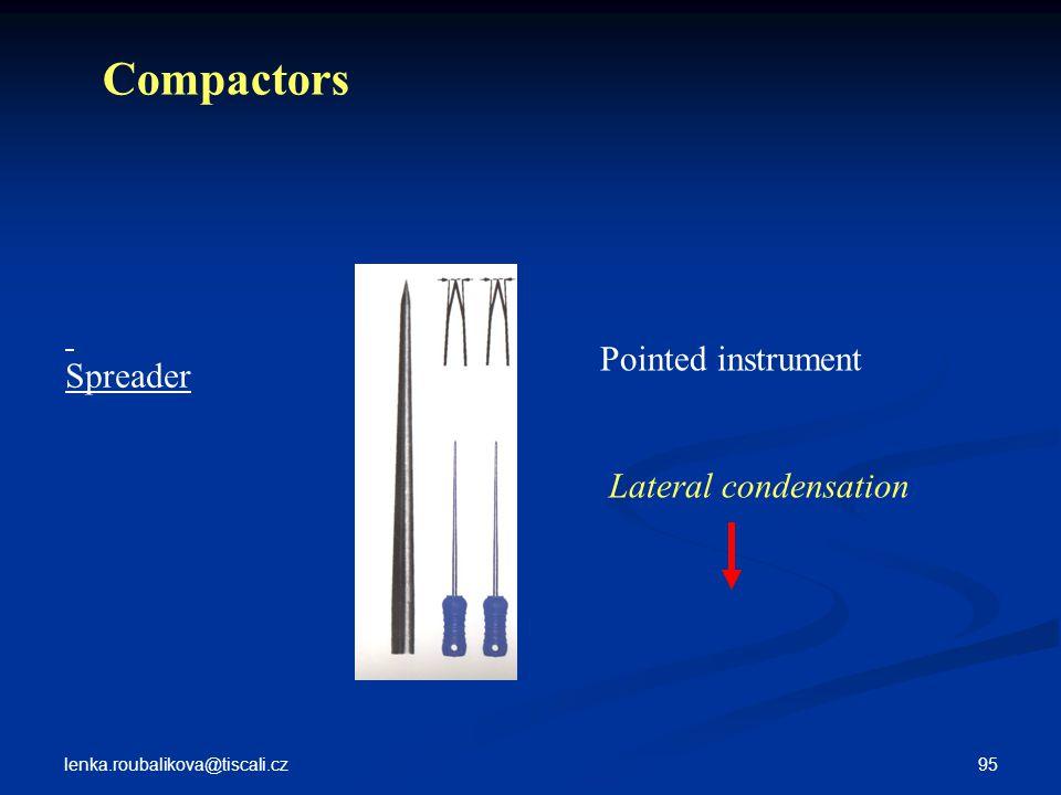 lenka.roubalikova@tiscali.cz 95 Spreader Compactors Pointed instrument Lateral condensation
