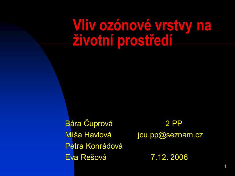 1 Vliv ozónové vrstvy na životní prostředí Bára Čuprová 2 PP Míša Havlová jcu.pp@seznam.cz Petra Konrádová Eva Rešová 7.12.