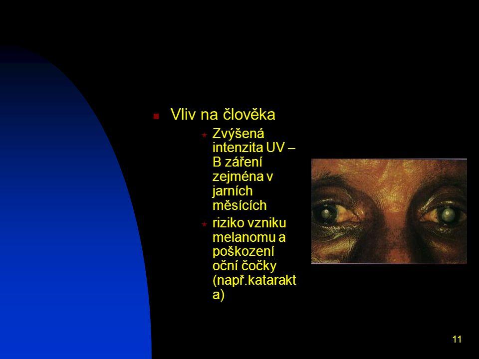 11 Vliv na člověka  Zvýšená intenzita UV – B záření zejména v jarních měsících  riziko vzniku melanomu a poškození oční čočky (např.katarakt a)