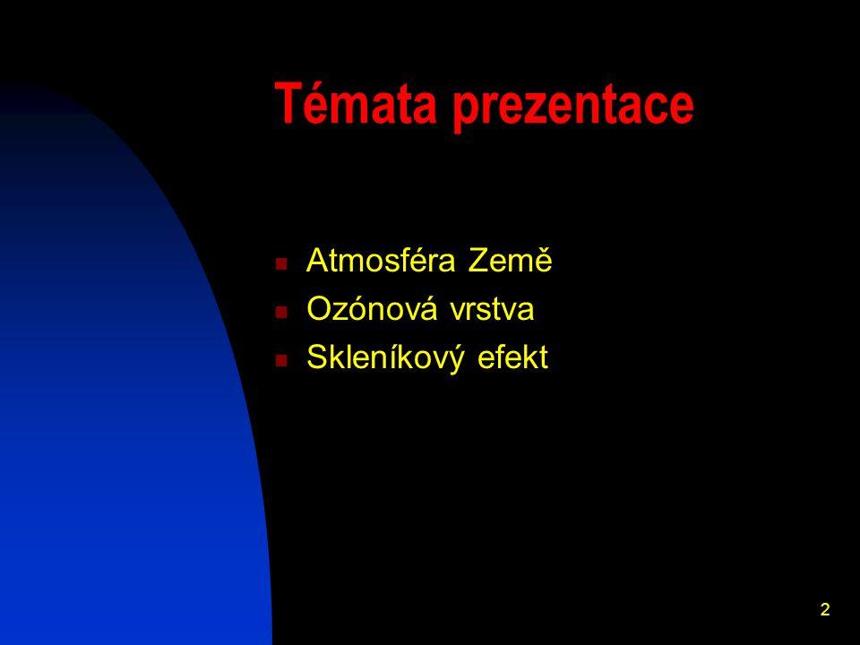 2 Témata prezentace Atmosféra Země Ozónová vrstva Skleníkový efekt