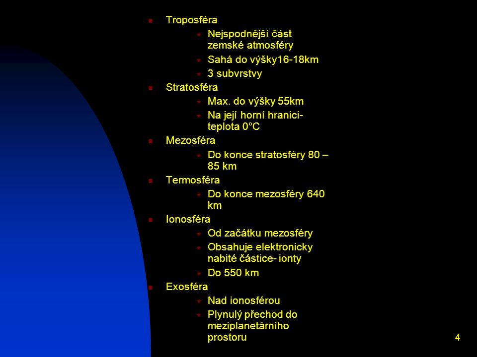 4 Troposféra  Nejspodnější část zemské atmosféry  Sahá do výšky16-18km  3 subvrstvy Stratosféra  Max.