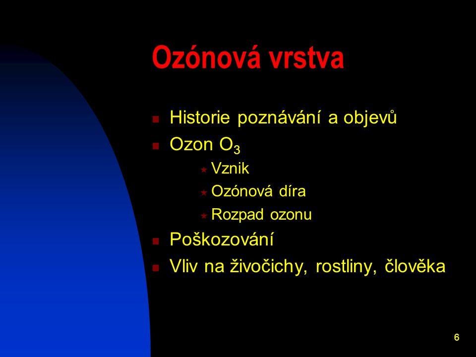 6 Ozónová vrstva Historie poznávání a objevů Ozon O 3  Vznik  Ozónová díra  Rozpad ozonu Poškozování Vliv na živočichy, rostliny, člověka