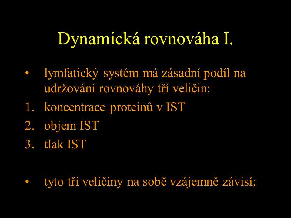 Dynamická rovnováha I. lymfatický systém má zásadní podíl na udržování rovnováhy tří veličin: 1.koncentrace proteinů v IST 2.objem IST 3.tlak IST tyto