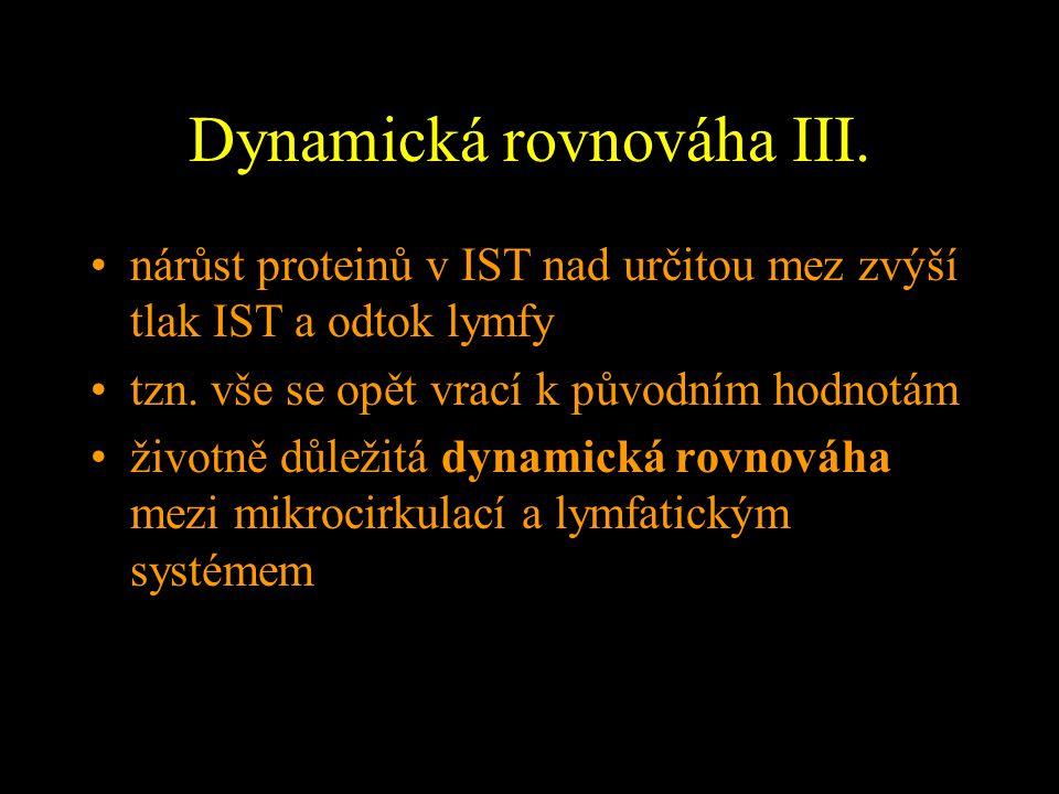 Dynamická rovnováha III. nárůst proteinů v IST nad určitou mez zvýší tlak IST a odtok lymfy tzn. vše se opět vrací k původním hodnotám životně důležit