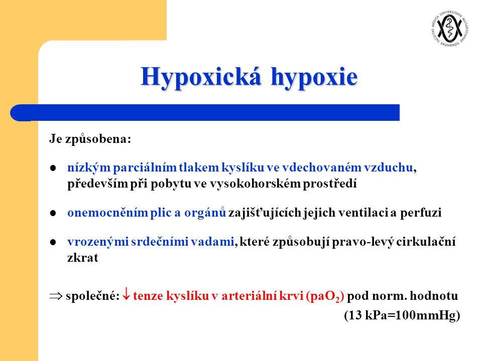 Hypoxická hypoxie Je způsobena: nízkým parciálním tlakem kyslíku ve vdechovaném vzduchu, především při pobytu ve vysokohorském prostředí onemocněním p