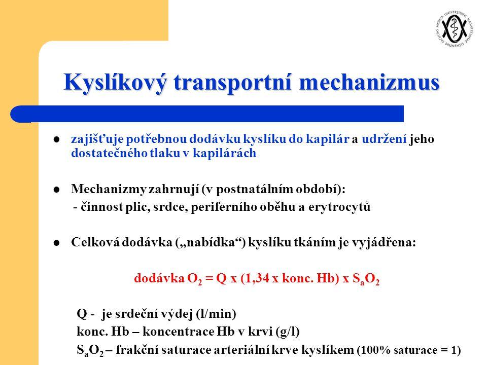 Kyslíkový transportní mechanizmus zajišťuje potřebnou dodávku kyslíku do kapilár a udržení jeho dostatečného tlaku v kapilárách Mechanizmy zahrnují (v
