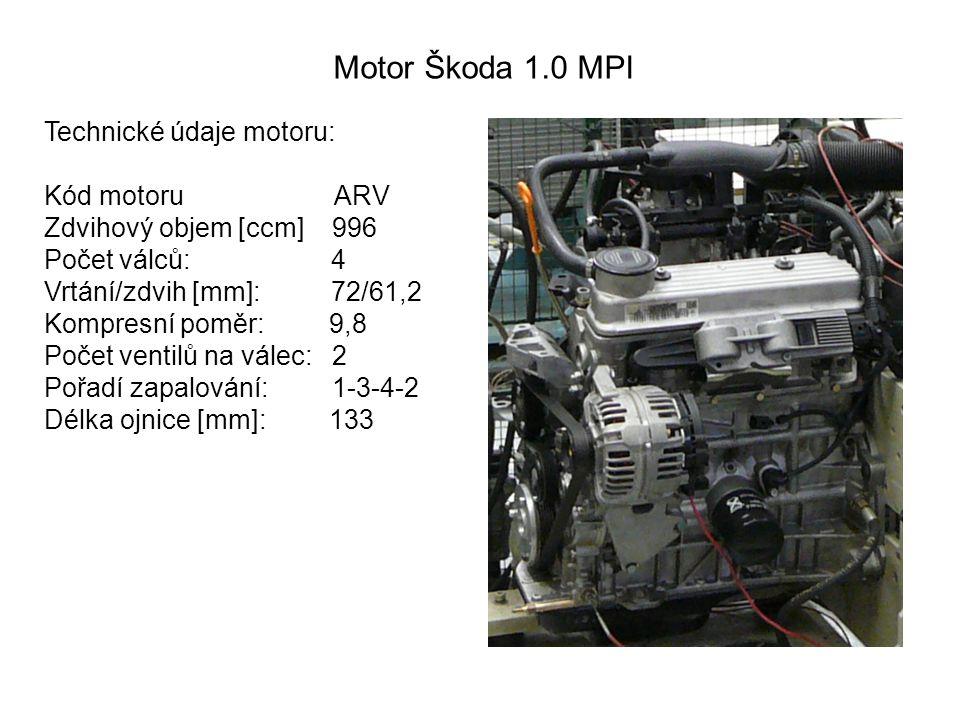 Motor Škoda 1.0 MPI Technické údaje motoru: Kód motoru ARV Zdvihový objem [ccm] 996 Počet válců: 4 Vrtání/zdvih [mm]: 72/61,2 Kompresní poměr: 9,8 Počet ventilů na válec:2 Pořadí zapalování:1-3-4-2 Délka ojnice [mm]: 133