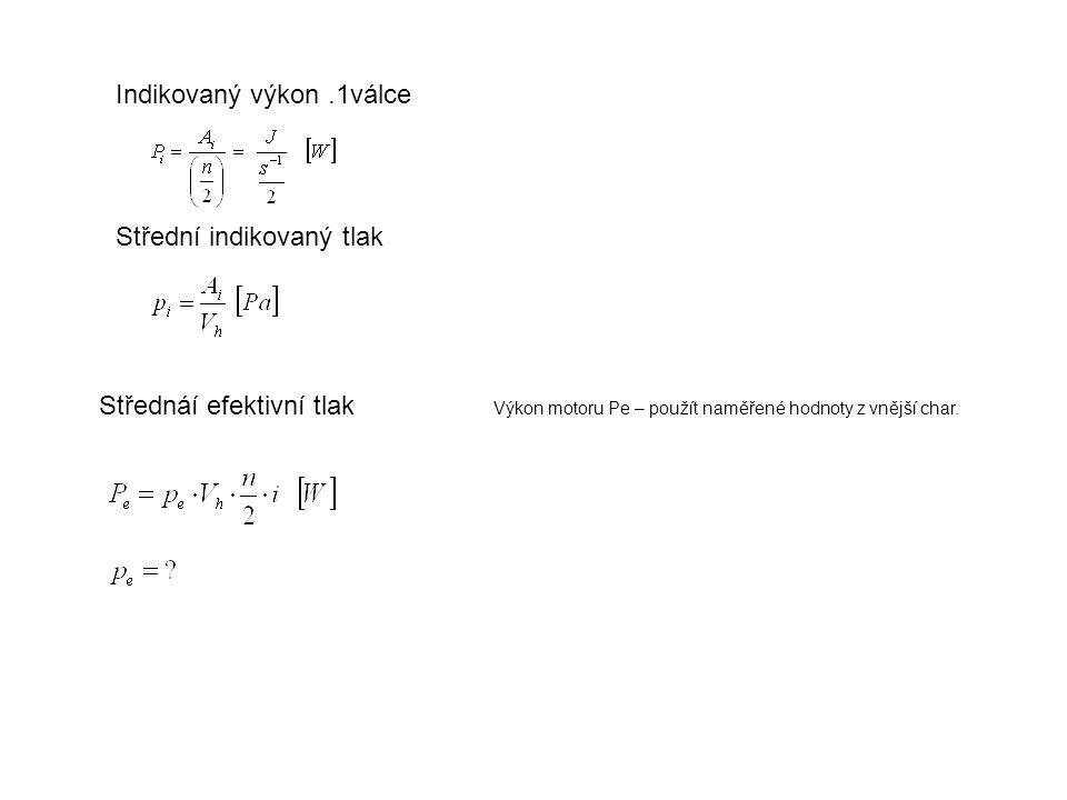 Indikovaný výkon.1válce Střední indikovaný tlak Střednáí efektivní tlak Výkon motoru Pe – použít naměřené hodnoty z vnější char.