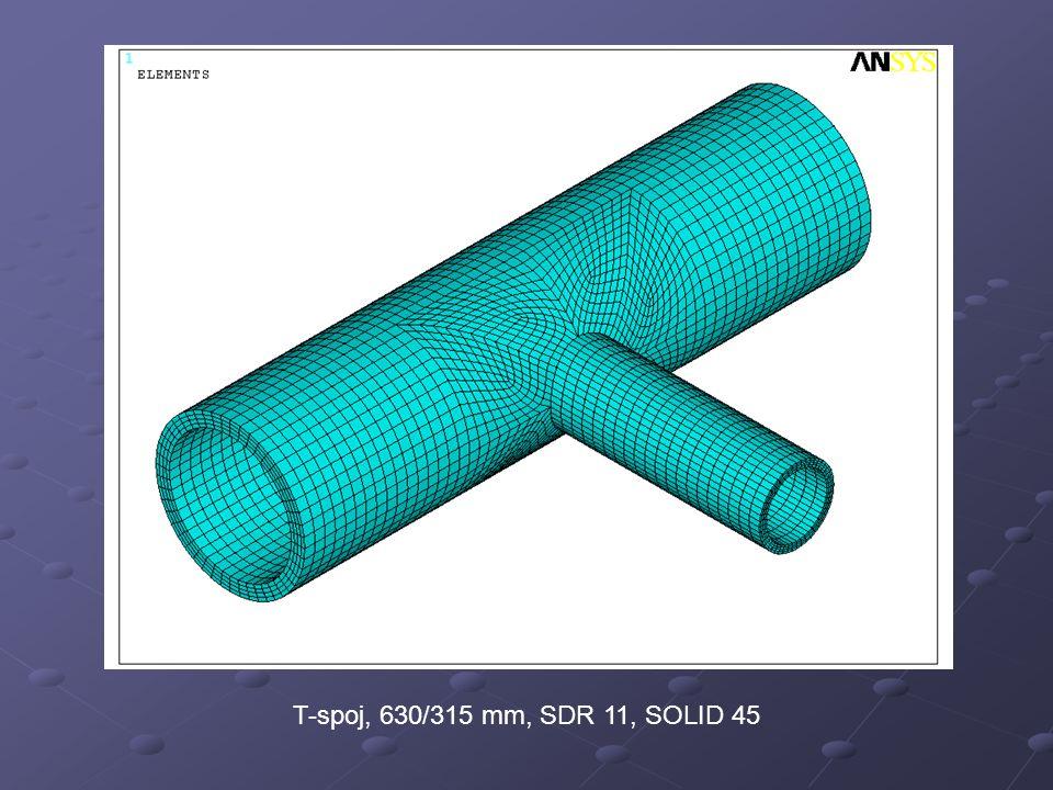 Misesovo napětí, geometricky nelineární výpočet, 630/315 mm, SDR 11, vnitřní přetlak 0,2 MPa, SOLID45