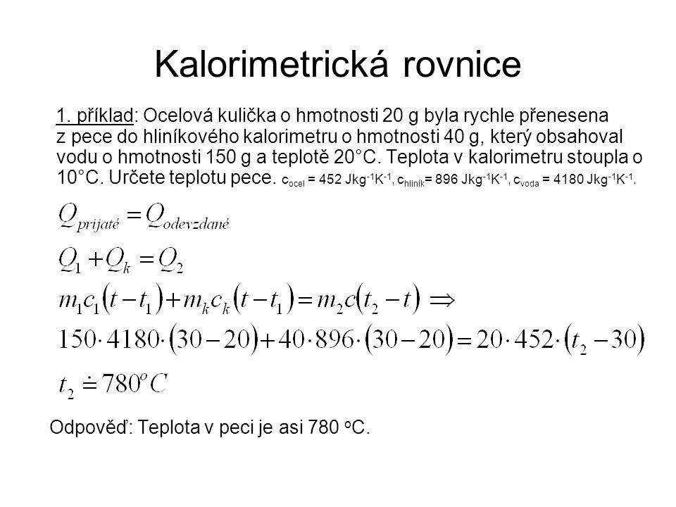 Kalorimetrická rovnice 1.