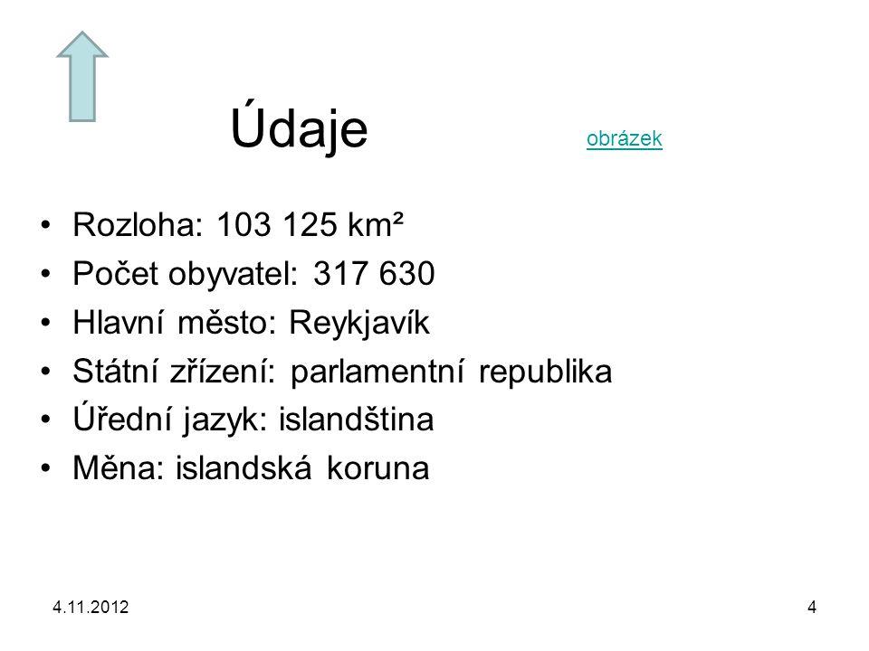 4.11.20124 Údaje Rozloha: 103 125 km² Počet obyvatel: 317 630 Hlavní město: Reykjavík Státní zřízení: parlamentní republika Úřední jazyk: islandština