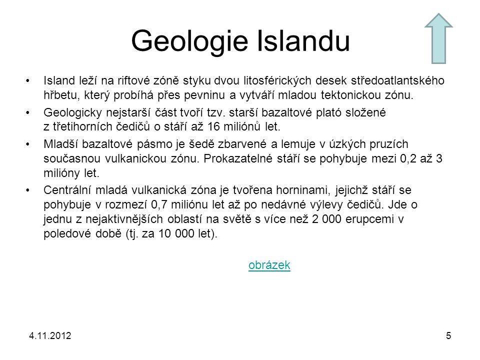 Geologie Islandu Island leží na riftové zóně styku dvou litosférických desek středoatlantského hřbetu, který probíhá přes pevninu a vytváří mladou tek