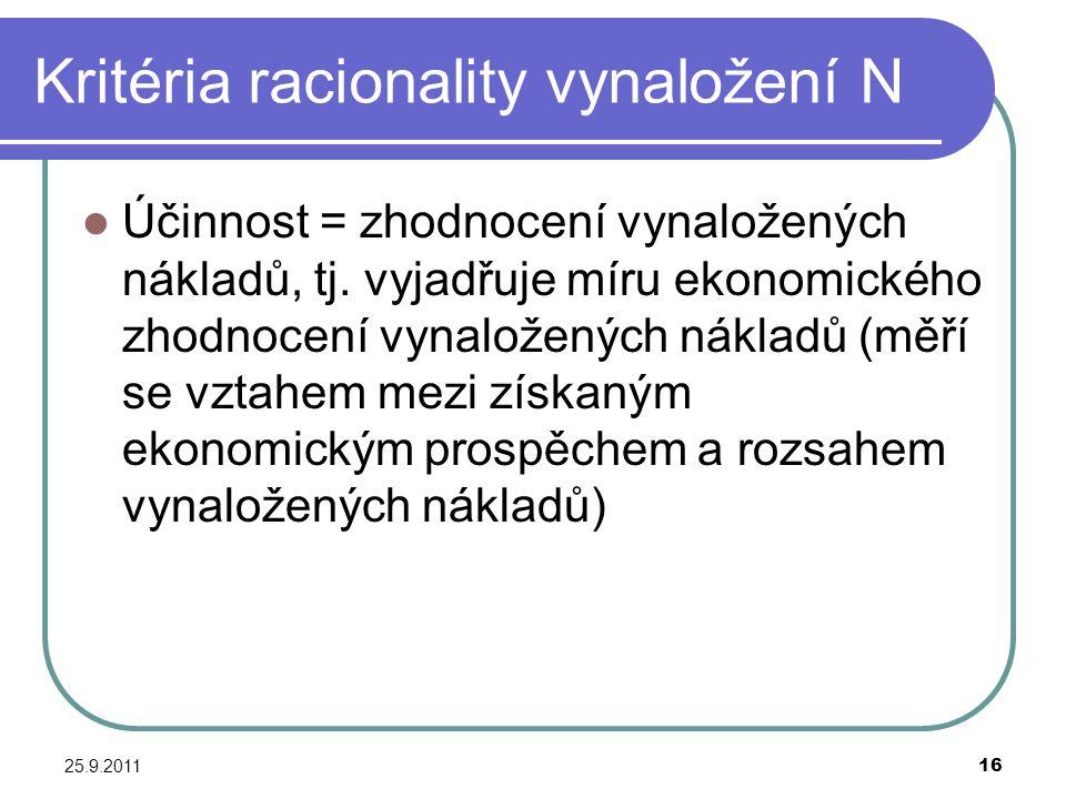 25.9.201116 Kritéria racionality vynaložení N Účinnost = zhodnocení vynaložených nákladů, tj. vyjadřuje míru ekonomického zhodnocení vynaložených nákl