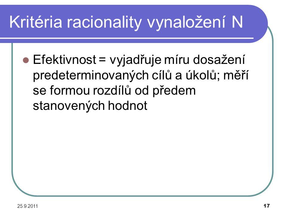 25.9.201117 Kritéria racionality vynaložení N Efektivnost = vyjadřuje míru dosažení predeterminovaných cílů a úkolů; měří se formou rozdílů od předem