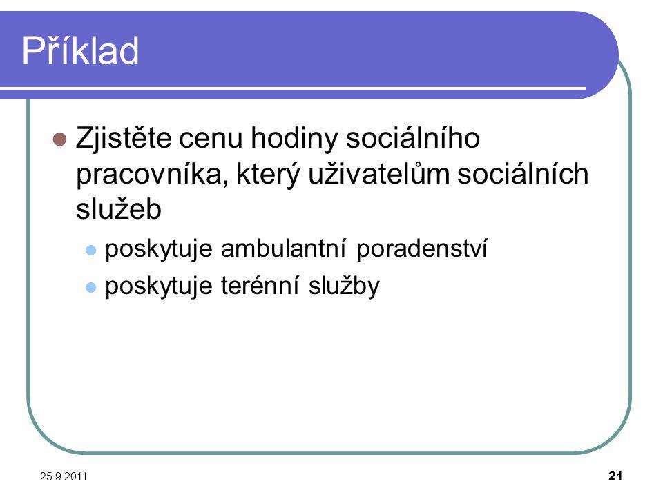 25.9.201121 Příklad Zjistěte cenu hodiny sociálního pracovníka, který uživatelům sociálních služeb poskytuje ambulantní poradenství poskytuje terénní