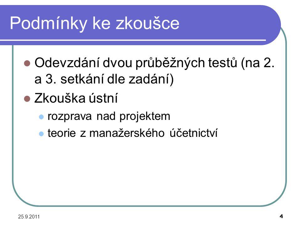 25.9.20114 Podmínky ke zkoušce Odevzdání dvou průběžných testů (na 2. a 3. setkání dle zadání) Zkouška ústní rozprava nad projektem teorie z manažersk