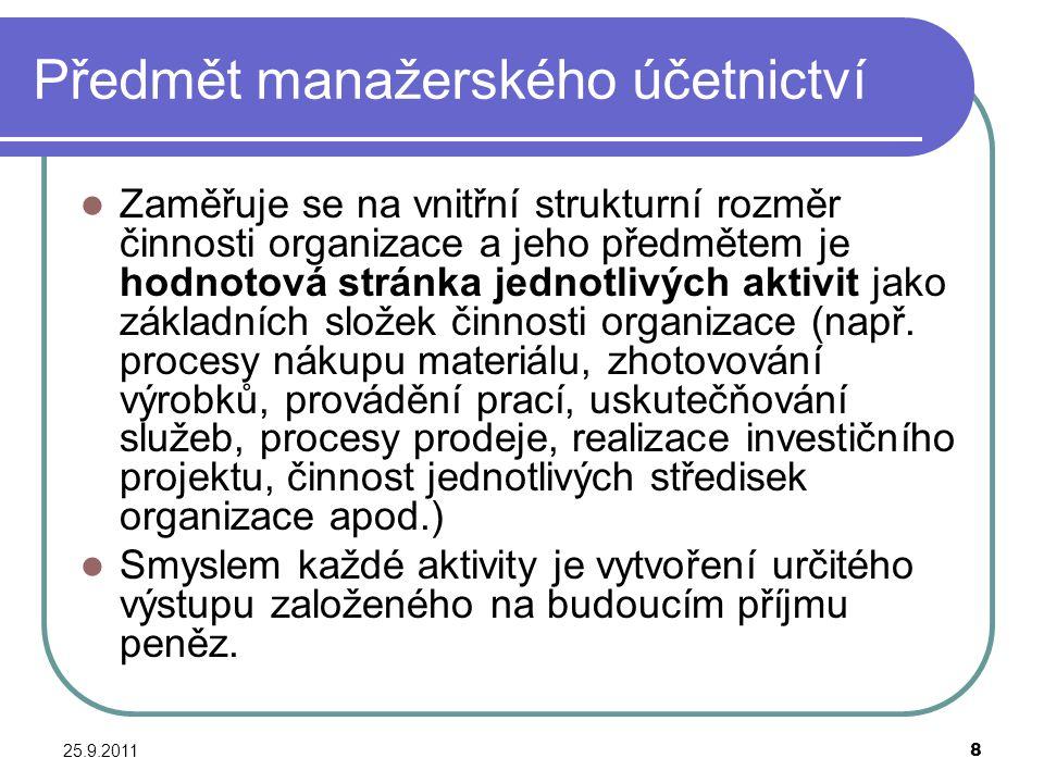 25.9.20119 Složky manažerského účetnictví Kalkulace Rozpočetnictví (rozpočty) Vnitropodnikové účetnictví (okruhy) Vnitropodniková statistika Operativní evidence Controlling