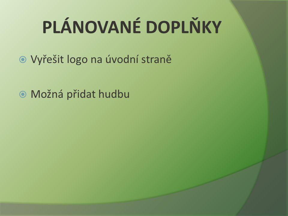 PLÁNOVANÉ DOPLŇKY  Vyřešit logo na úvodní straně  Možná přidat hudbu