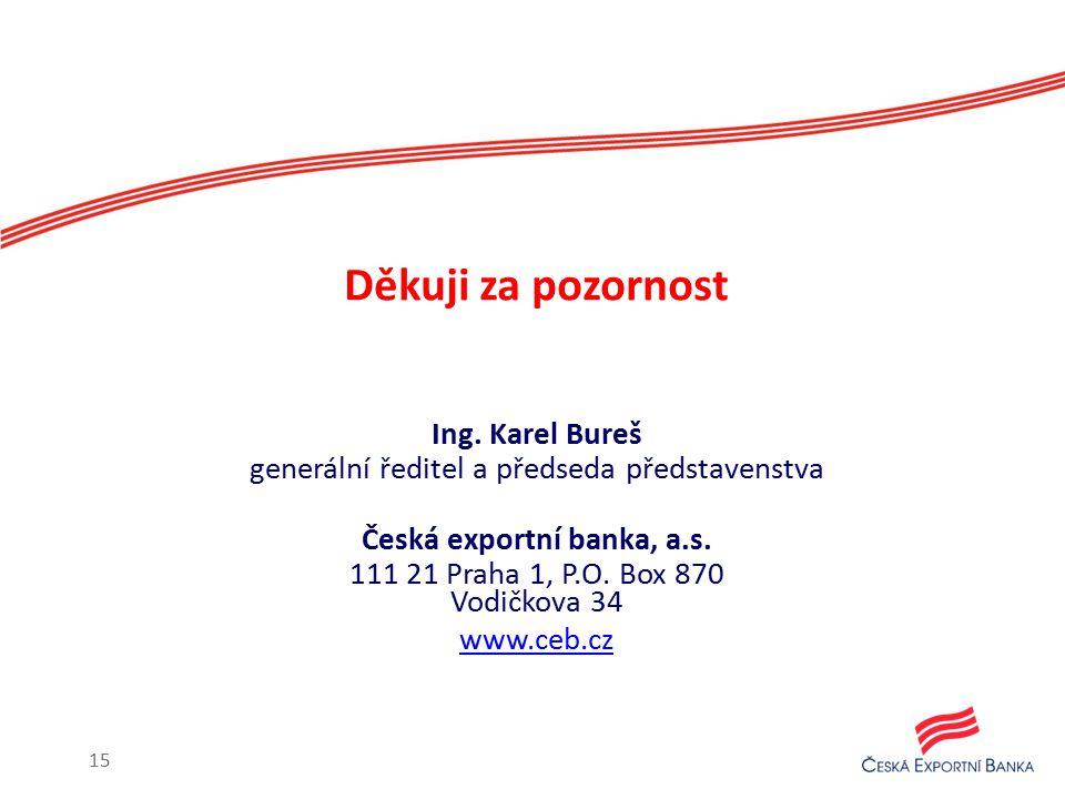 Děkuji za pozornost Ing. Karel Bureš generální ředitel a předseda představenstva Česká exportní banka, a.s. 111 21 Praha 1, P.O. Box 870 Vodičkova 34