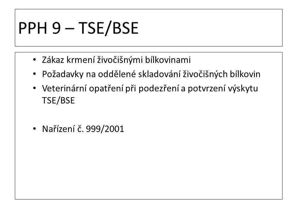 PPH 9 – TSE/BSE Zákaz krmení živočišnými bílkovinami Požadavky na oddělené skladování živočišných bílkovin Veterinární opatření při podezření a potvrz