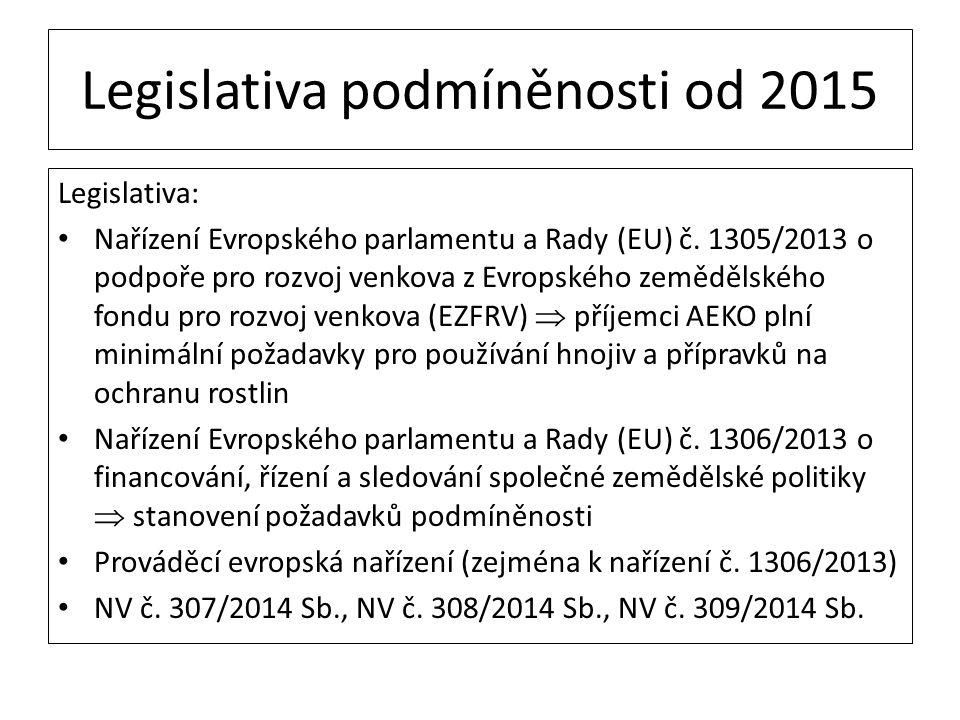 Legislativa podmíněnosti od 2015 Legislativa: Nařízení Evropského parlamentu a Rady (EU) č. 1305/2013 o podpoře pro rozvoj venkova z Evropského zemědě