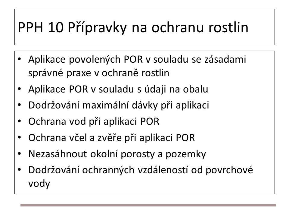 PPH 10 Přípravky na ochranu rostlin Aplikace povolených POR v souladu se zásadami správné praxe v ochraně rostlin Aplikace POR v souladu s údaji na ob