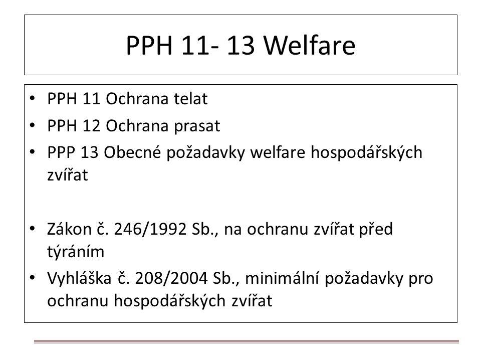 PPH 11- 13 Welfare PPH 11 Ochrana telat PPH 12 Ochrana prasat PPP 13 Obecné požadavky welfare hospodářských zvířat Zákon č. 246/1992 Sb., na ochranu z