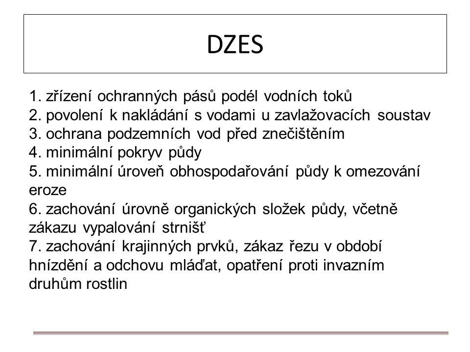 DZES 1. zřízení ochranných pásů podél vodních toků 2. povolení k nakládání s vodami u zavlažovacích soustav 3. ochrana podzemních vod před znečištěním