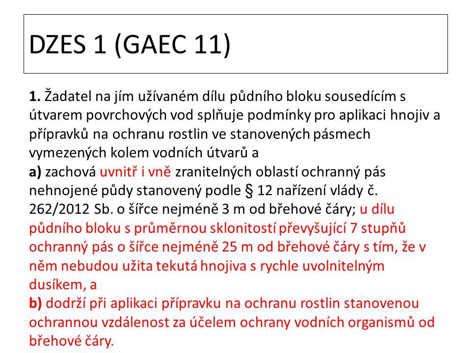 DZES 1 (GAEC 11) 1. Žadatel na jím užívaném dílu půdního bloku sousedícím s útvarem povrchových vod splňuje podmínky pro aplikaci hnojiv a přípravků n