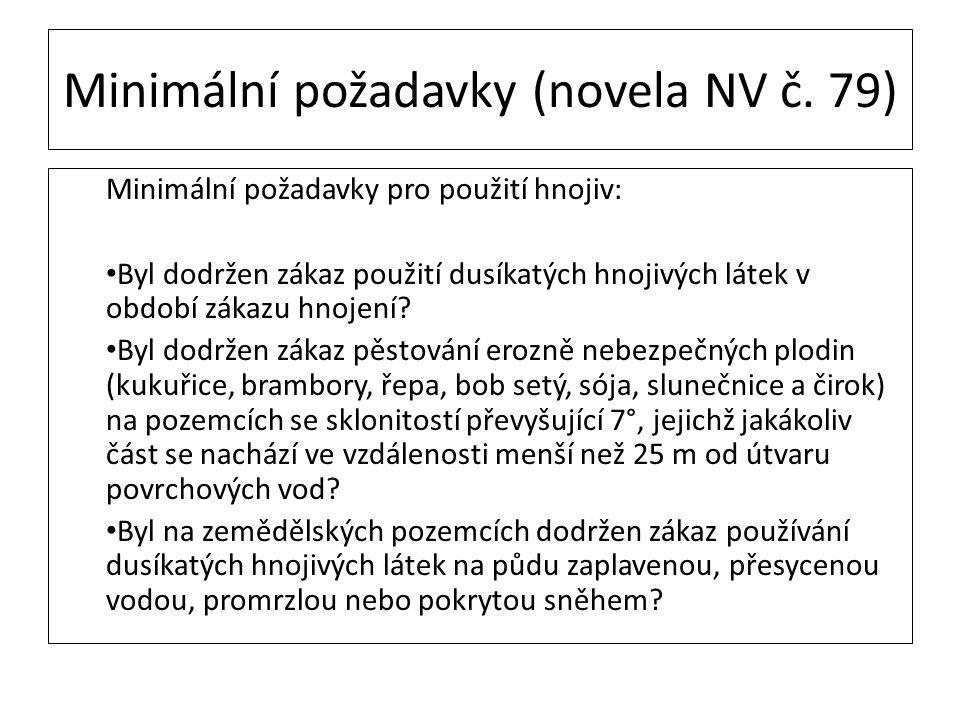 Minimální požadavky (novela NV č. 79) Minimální požadavky pro použití hnojiv: Byl dodržen zákaz použití dusíkatých hnojivých látek v období zákazu hno
