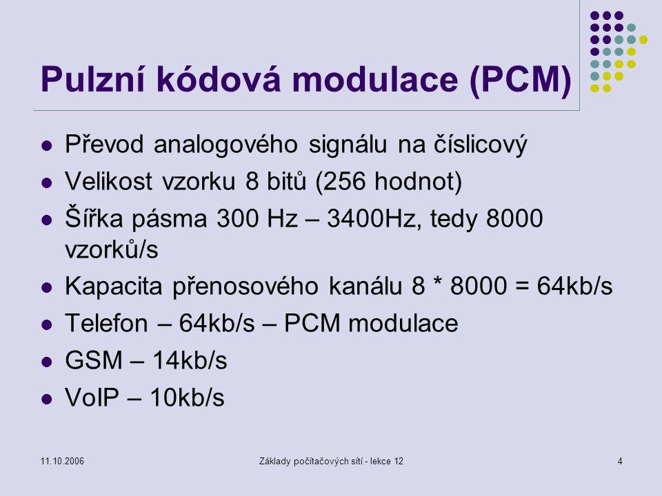 11.10.2006Základy počítačových sítí - lekce 124 Pulzní kódová modulace (PCM) Převod analogového signálu na číslicový Velikost vzorku 8 bitů (256 hodnot) Šířka pásma 300 Hz – 3400Hz, tedy 8000 vzorků/s Kapacita přenosového kanálu 8 * 8000 = 64kb/s Telefon – 64kb/s – PCM modulace GSM – 14kb/s VoIP – 10kb/s