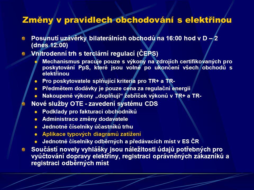"""Změny v pravidlech obchodování s elektřinou Posunutí uzávěrky bilaterálních obchodů na 16:00 hod v D – 2 (dnes 12:00) Vnitrodenní trh s terciární regulací (ČEPS) Mechanismus pracuje pouze s výkony na zdrojích certifikovaných pro poskytování PpS, které jsou volné po ukončení všech obchodů s elektřinou Pro poskytovatele splňující kriteria pro TR+ a TR- Předmětem dodávky je pouze cena za regulační energii Nakoupené výkony """"doplňují žebříček výkonů v TR+ a TR- Nové služby OTE - zavedení systému CDS Podklady pro fakturaci obchodníků Administrace změny dodavatele Jednotné číselníky účastníků trhu Aplikace typových diagramů zatížení Jednotné číselníky odběrných a předávacích míst v ES ČR Součástí novely vyhlášky jsou náležitosti údajů potřebných pro vyúčtování dopravy elektřiny, registraci oprávněných zákazníků a registraci odběrných míst"""
