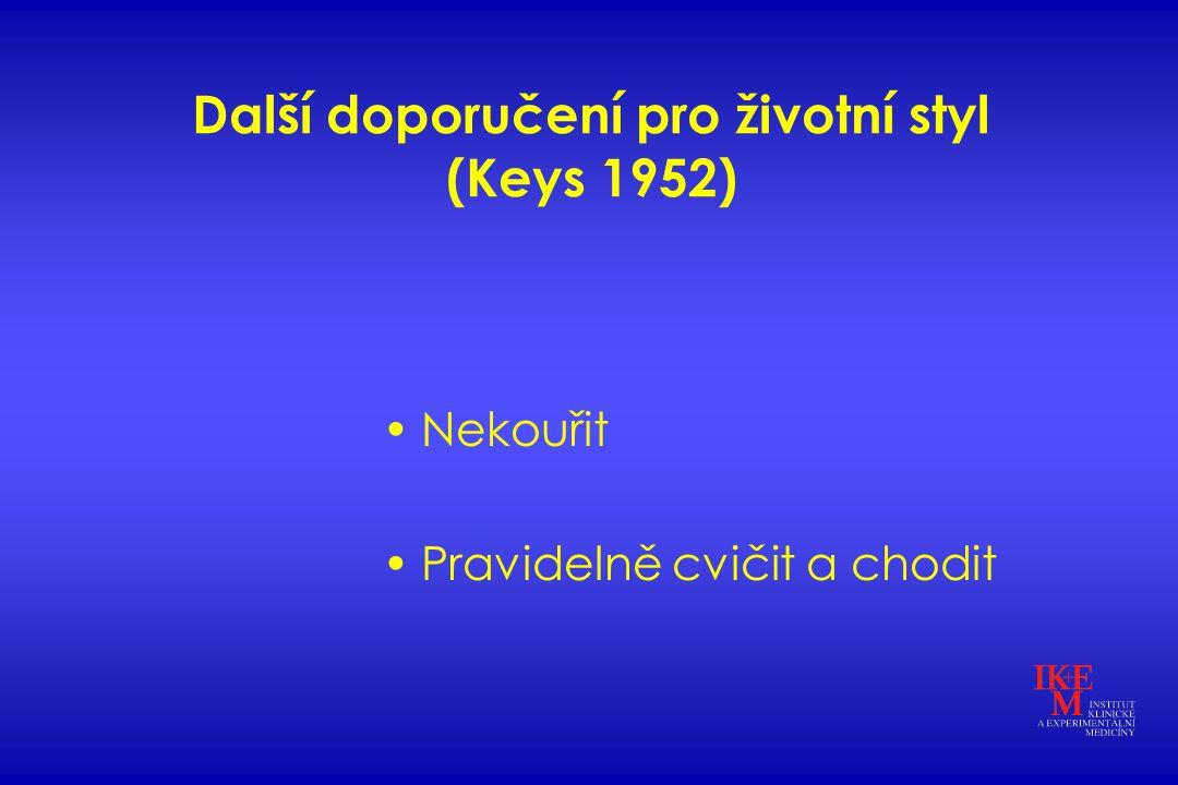 Další doporučení pro životní styl (Keys 1952) Nekouřit Pravidelně cvičit a chodit