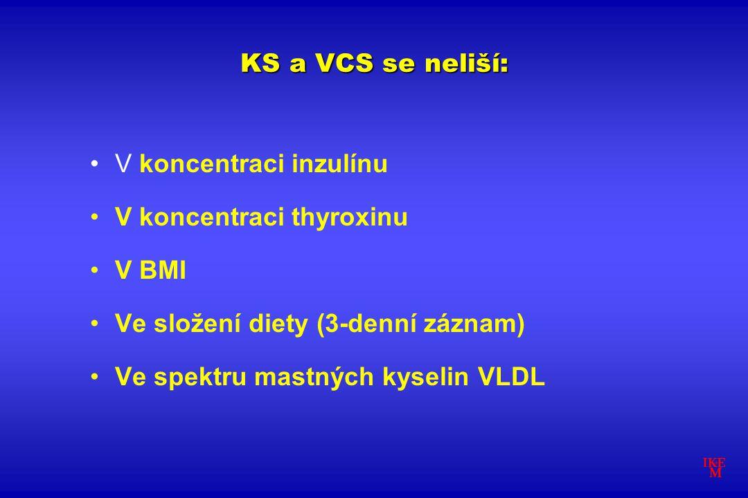 KS a VCS se neliší: V koncentraci inzulínu V koncentraci thyroxinu V BMI Ve složení diety (3-denní záznam) Ve spektru mastných kyselin VLDL