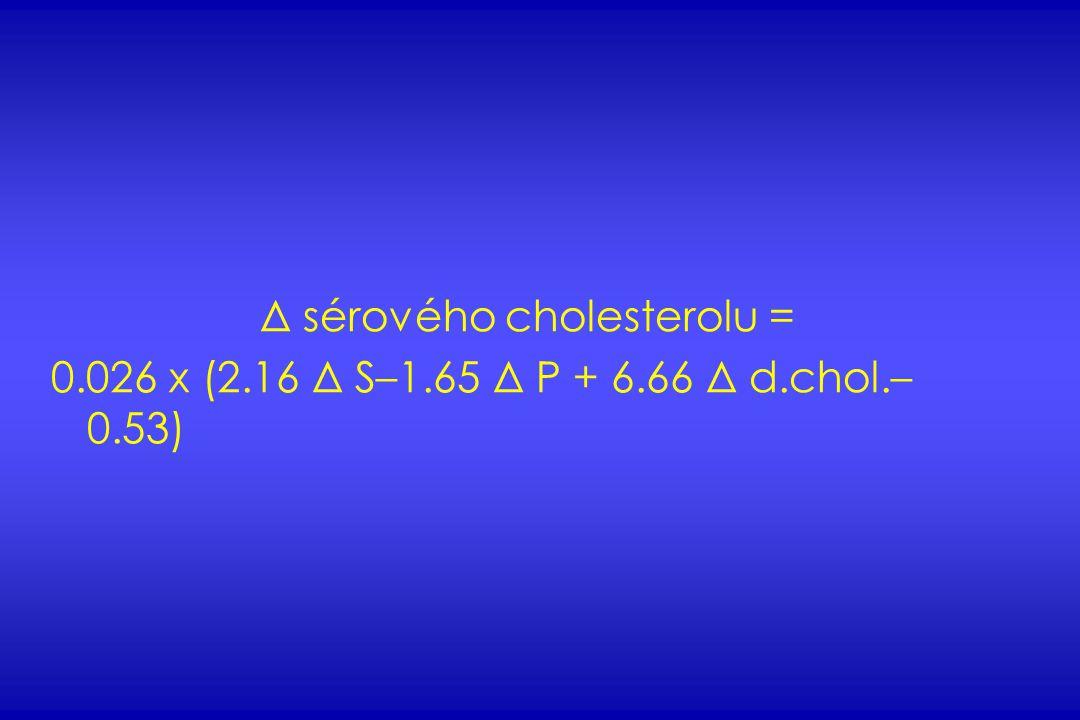 Δ sérového cholesterolu = 0.026 x (2.16 Δ S–1.65 Δ P + 6.66 Δ d.chol.– 0.53)