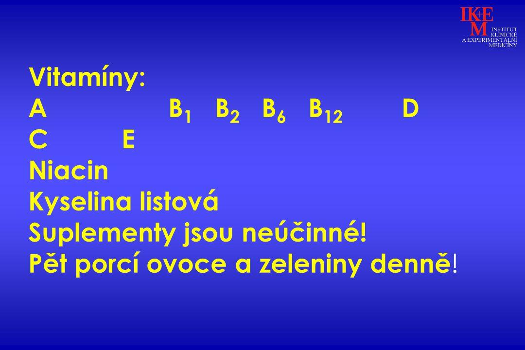 Vitamíny: AB 1 B 2 B 6 B 12 D CE Niacin Kyselina listová Suplementy jsou neúčinné! Pět porcí ovoce a zeleniny denně !