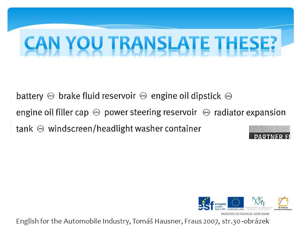 English for the Automobile Industry, Tomáš Hausner, Fraus 2007, str.30 -obrázek