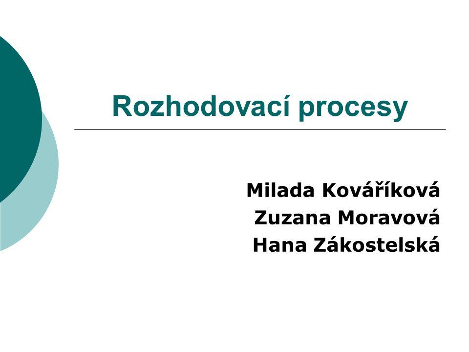 Rozhodovací procesy Milada Kováříková Zuzana Moravová Hana Zákostelská