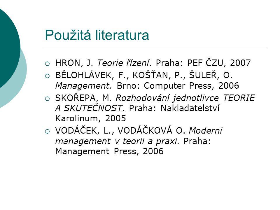 Použitá literatura  HRON, J. Teorie řízení. Praha: PEF ČZU, 2007  BĚLOHLÁVEK, F., KOŠŤAN, P., ŠULEŘ, O. Management. Brno: Computer Press, 2006  SKO