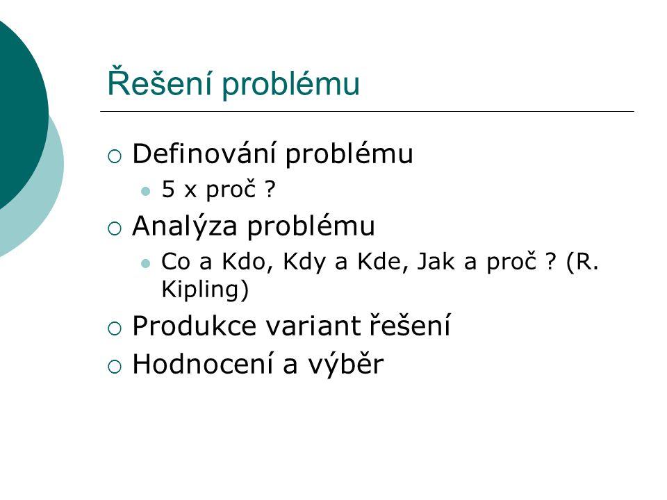 Řešení problému  Definování problému 5 x proč ?  Analýza problému Co a Kdo, Kdy a Kde, Jak a proč ? (R. Kipling)  Produkce variant řešení  Hodnoce