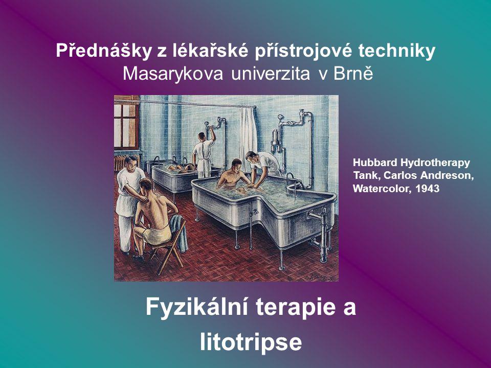 Fyzioterapie Rozdělení fyzioterapeutických metod: - léčení mechanickou a akustickou energií - léčení teplem (ohřevem a ochlazováním) - léčení elektrickými proudy - léčení magnetickými poli - léčení světlem ---------------------------- LITOTRIPSE