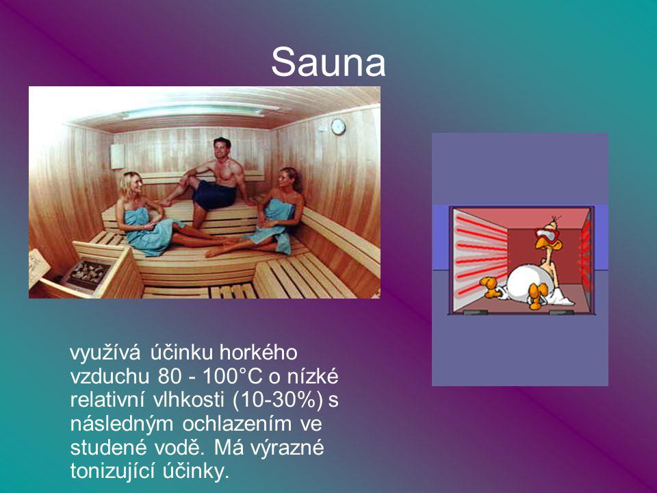 Sauna využívá účinku horkého vzduchu 80 - 100°C o nízké relativní vlhkosti (10-30%) s následným ochlazením ve studené vodě.