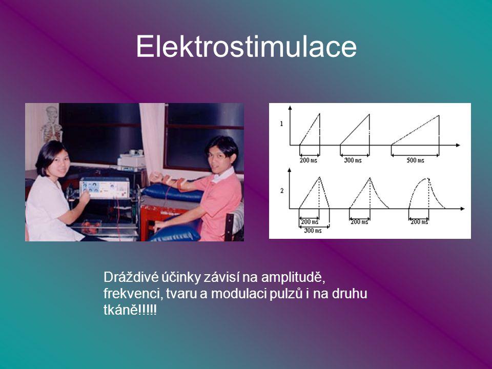 Elektrostimulace Dráždivé účinky závisí na amplitudě, frekvenci, tvaru a modulaci pulzů i na druhu tkáně!!!!!