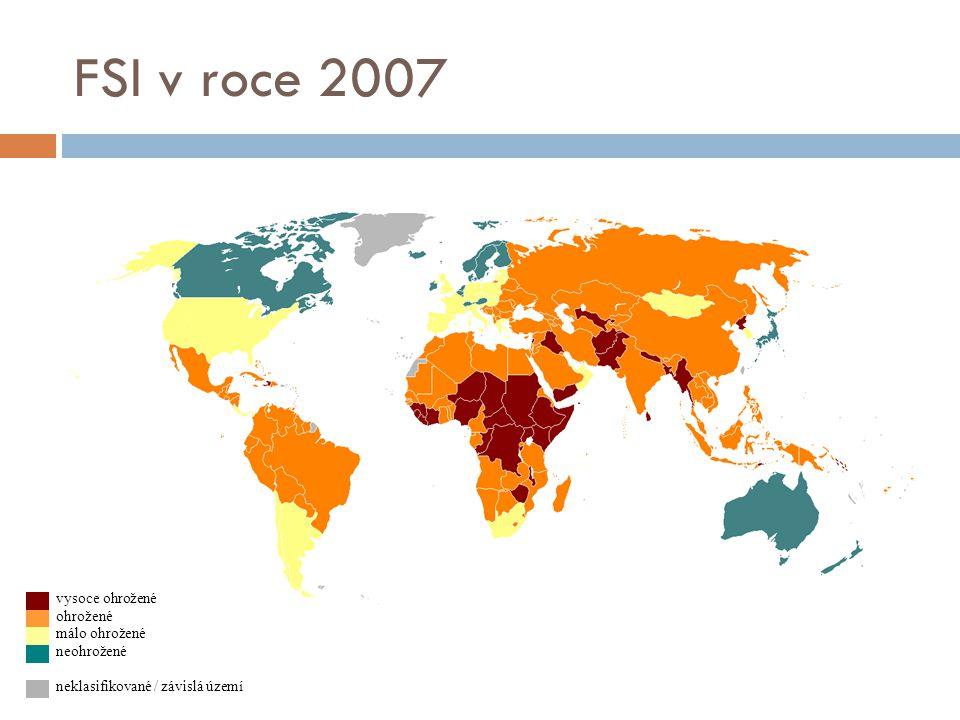 FSI v roce 2007 vysoce ohrožené ohrožené málo ohrožené neohrožené neklasifikované / závislá území