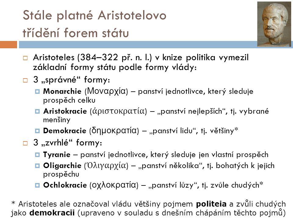 Stále platné Aristotelovo třídění forem státu  Aristoteles (384–322 př.