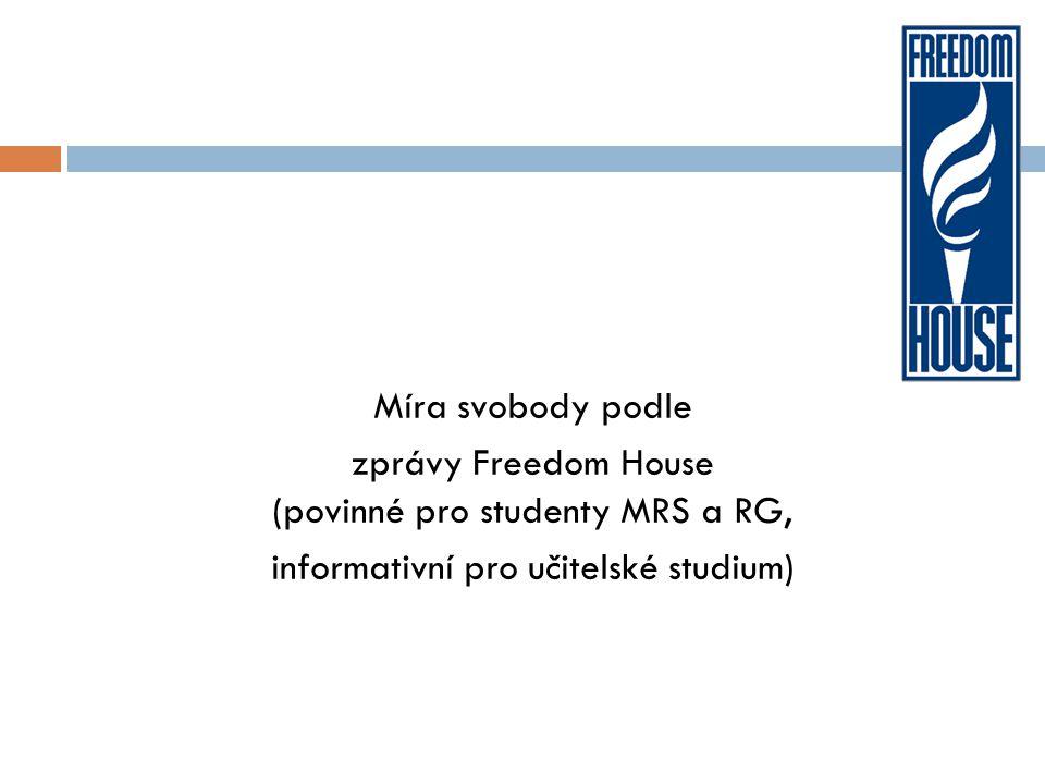 Míra svobody podle zprávy Freedom House (povinné pro studenty MRS a RG, informativní pro učitelské studium)